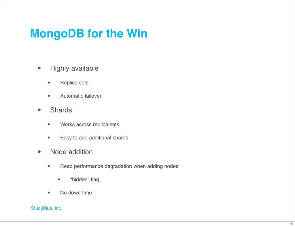 StudyBlue, Inc. MongoDB for the Win • Highly av...