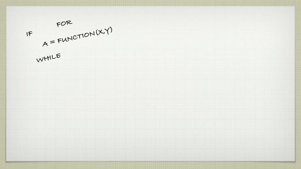 IF FOR WHILE A = FUNCTION(X,Y)