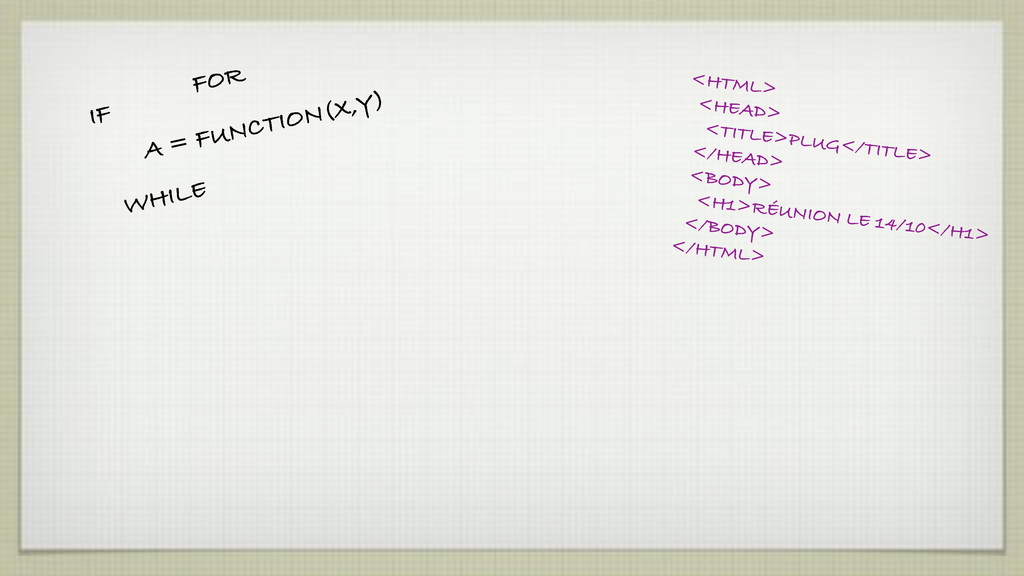 IF FOR WHILE A = FUNCTION(X,Y) <HTML> <HEAD> <T...