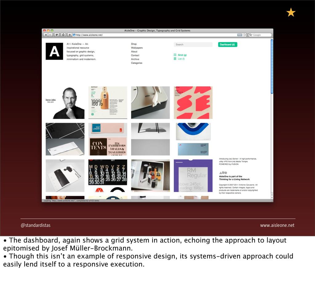 @standardistas www.aisleone.net • The dashboard...
