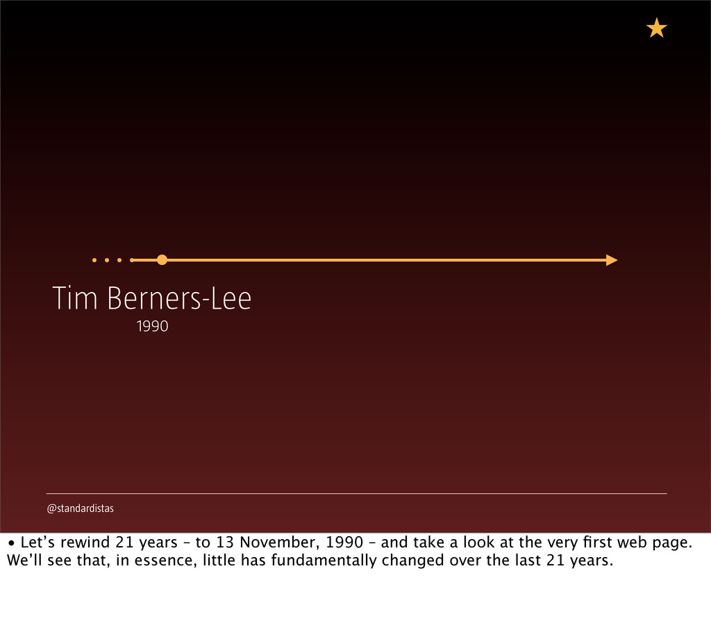 @standardistas Tim Berners-Lee 1990 • Let's rew...