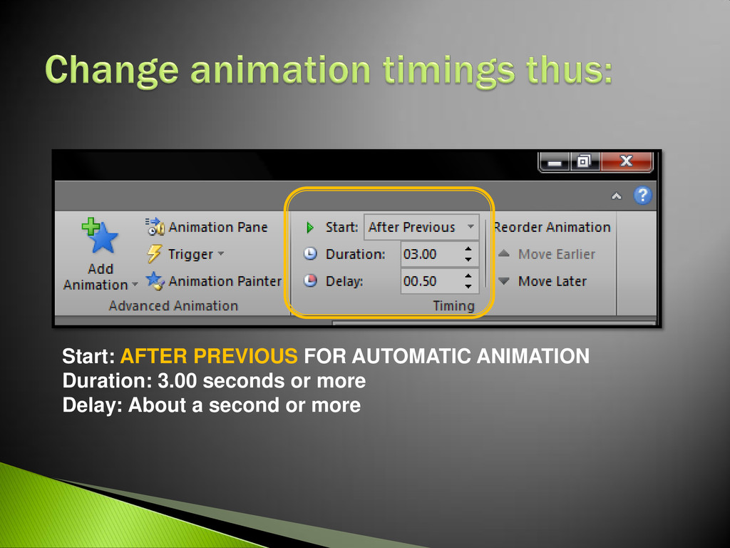 Start: AFTER PREVIOUS FOR AUTOMATIC ANIMATION D...