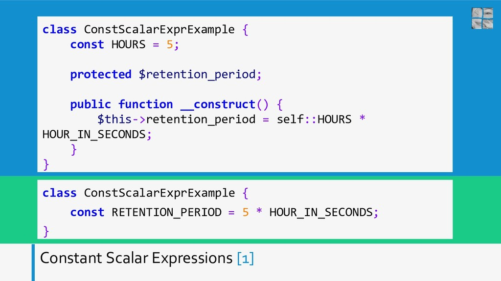 Constant Scalar Expressions [1] class ConstScal...
