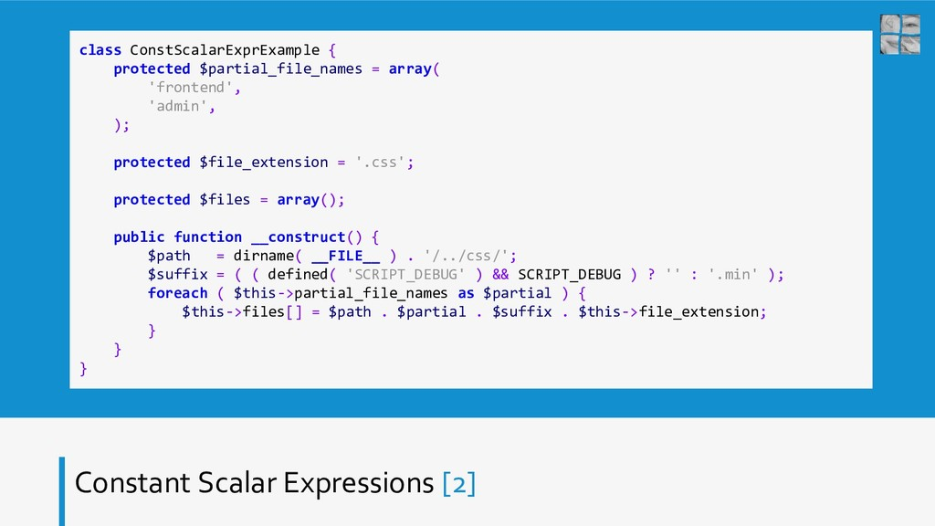 Constant Scalar Expressions [2] class ConstScal...