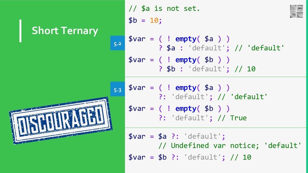 Short Ternary // $a is not set. $b = 10; $var =...