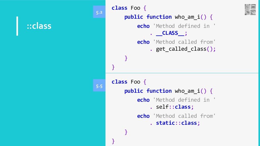 ::class class Foo { public function who_am_i() ...