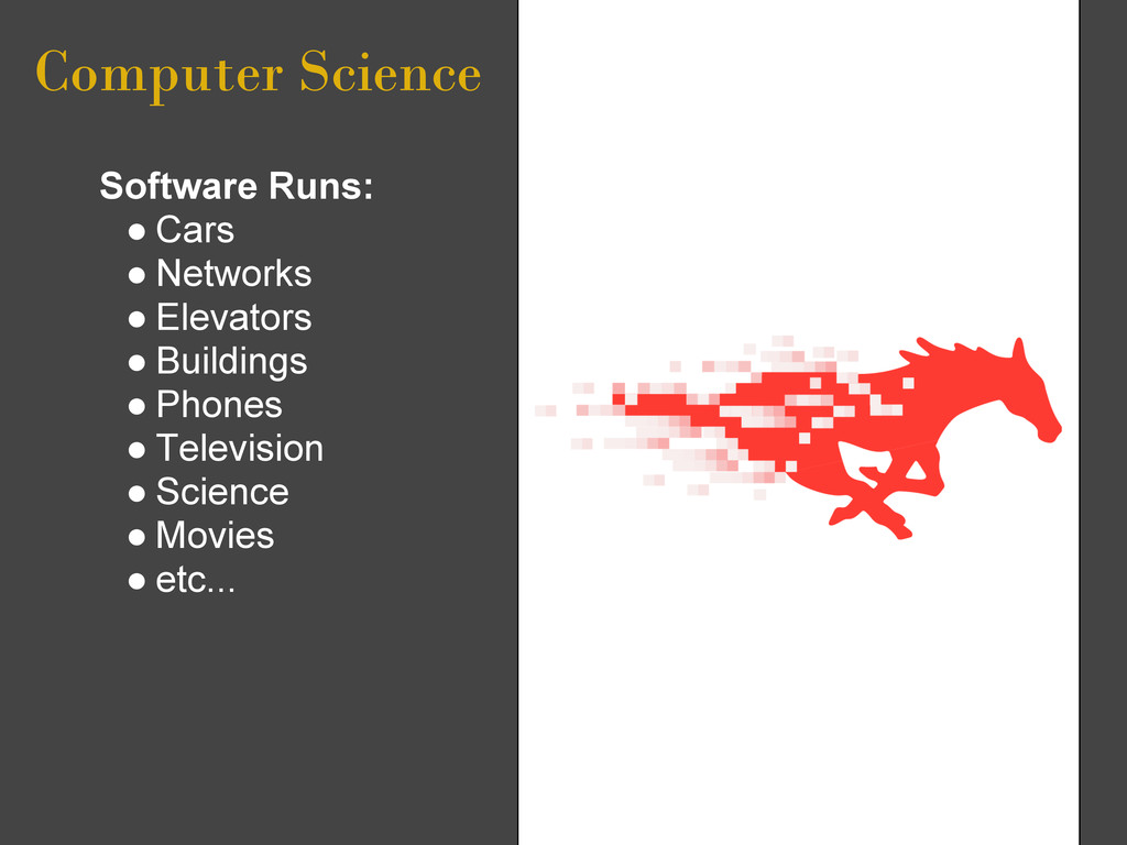 Computer Science Software Runs: ● Cars ● Networ...