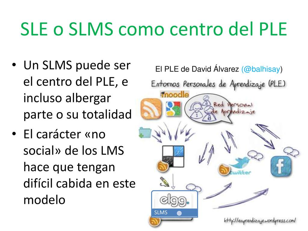 SLE o SLMS como centro del PLE SLMS • Un SLMS p...