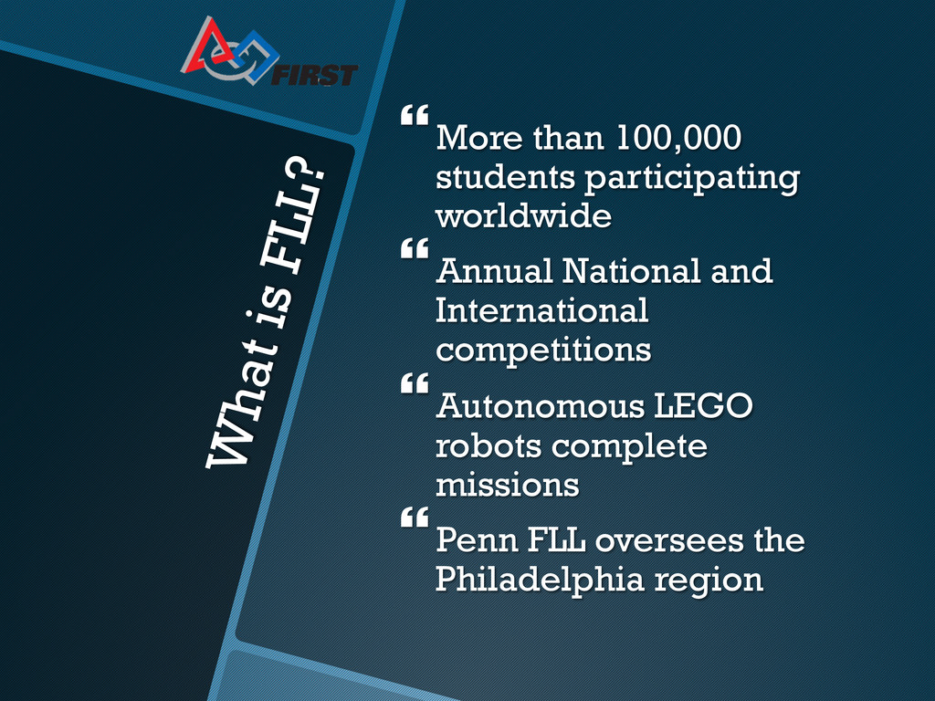 What is FLL? }More than 100,000 students part...