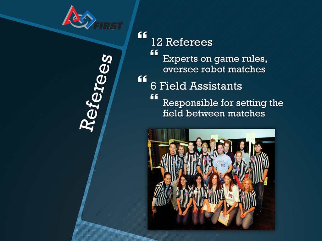 Referees }12 Referees }Experts on game rule...