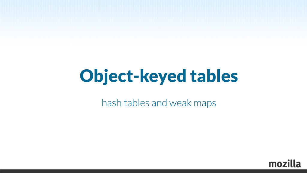 Object-keyed tables hash tables and weak maps