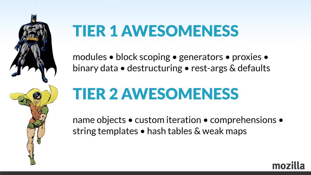 TIER 1 AWESOMENESS modules • block scoping • ge...