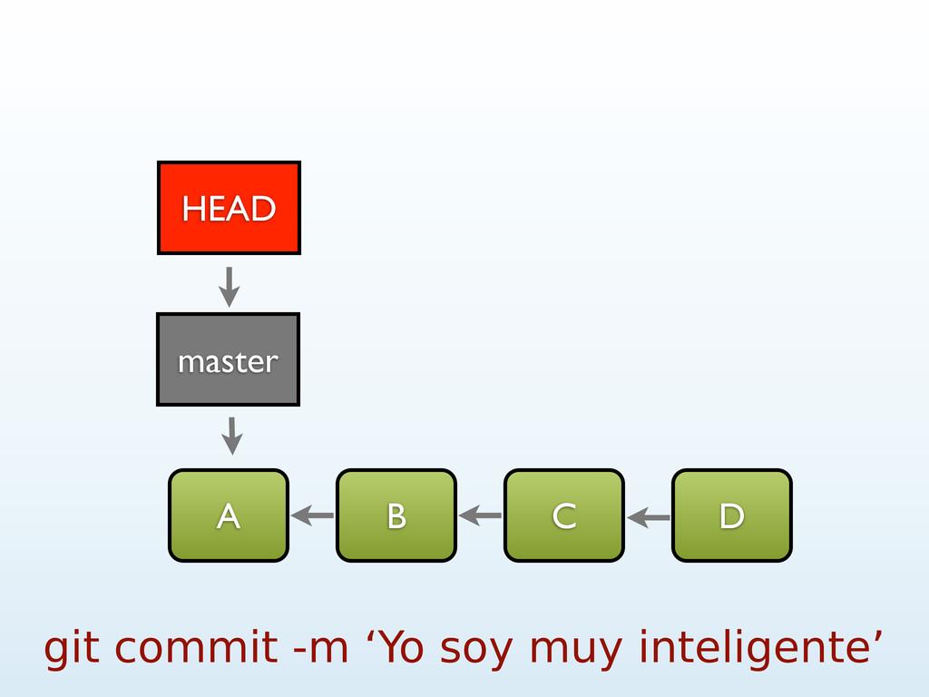 A B C D git commit -m 'Yo soy muy inteligente' ...