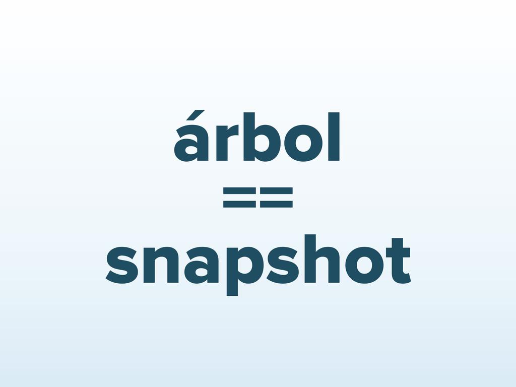 árbol == snapshot