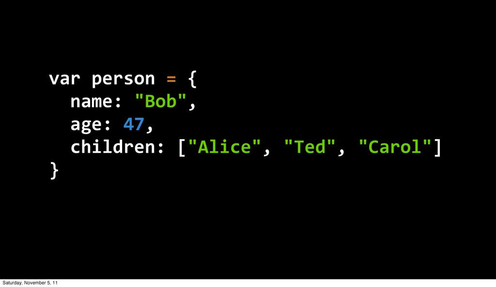 """var person = {   name: """"Bob"""",   age: 4..."""