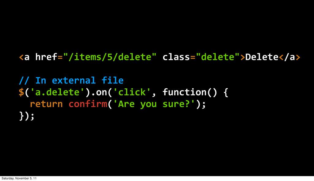 """<a href=""""/items/5/delete"""" class=""""delete"""">Dele..."""
