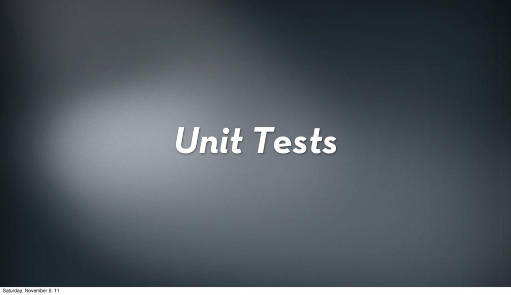 Unit Tests Saturday, November 5, 11