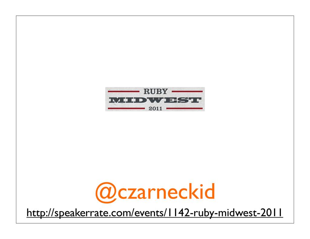 @czarneckid http://speakerrate.com/events/1142-...