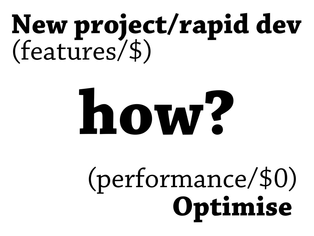 Optimise New project/rapid dev (features/$) (pe...