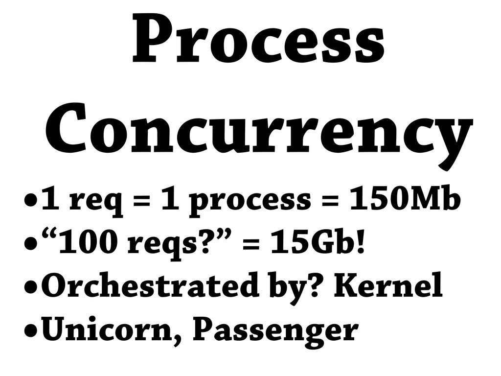 """•1 req = 1 process = 150Mb •""""100 reqs?"""" = 15Gb!..."""