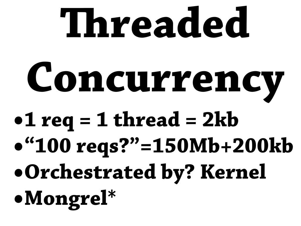 """•1 req = 1 thread = 2kb •""""100 reqs?""""=150Mb+200k..."""