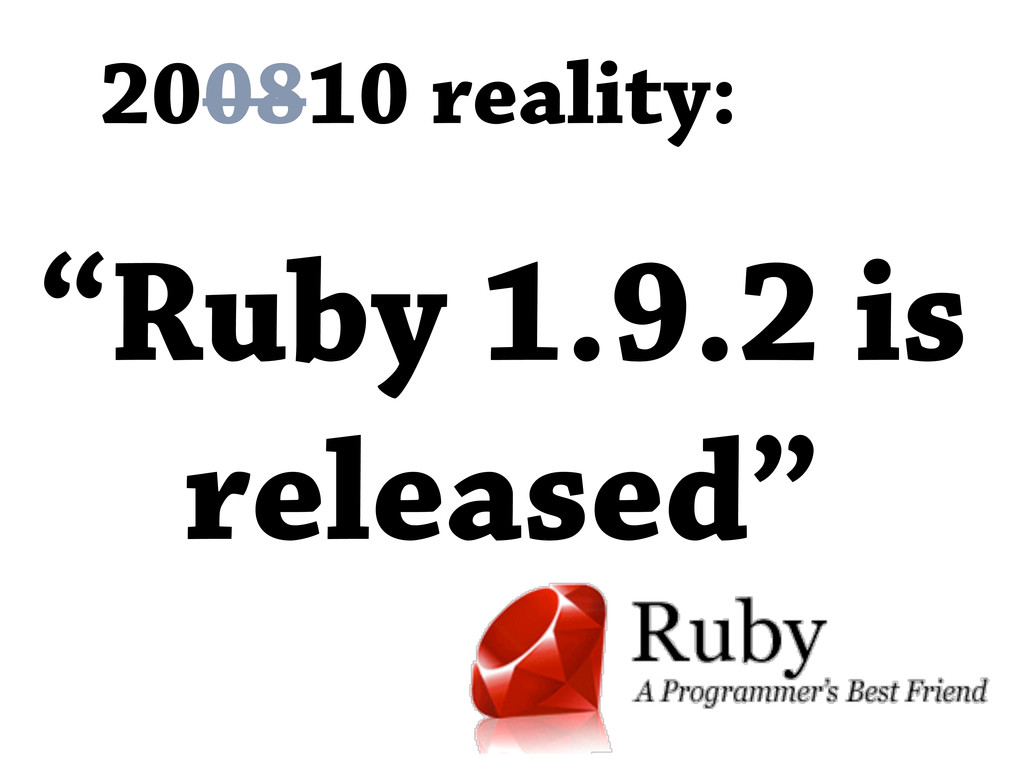 "200810 reality: ""Ruby 1.9.2 is released"""