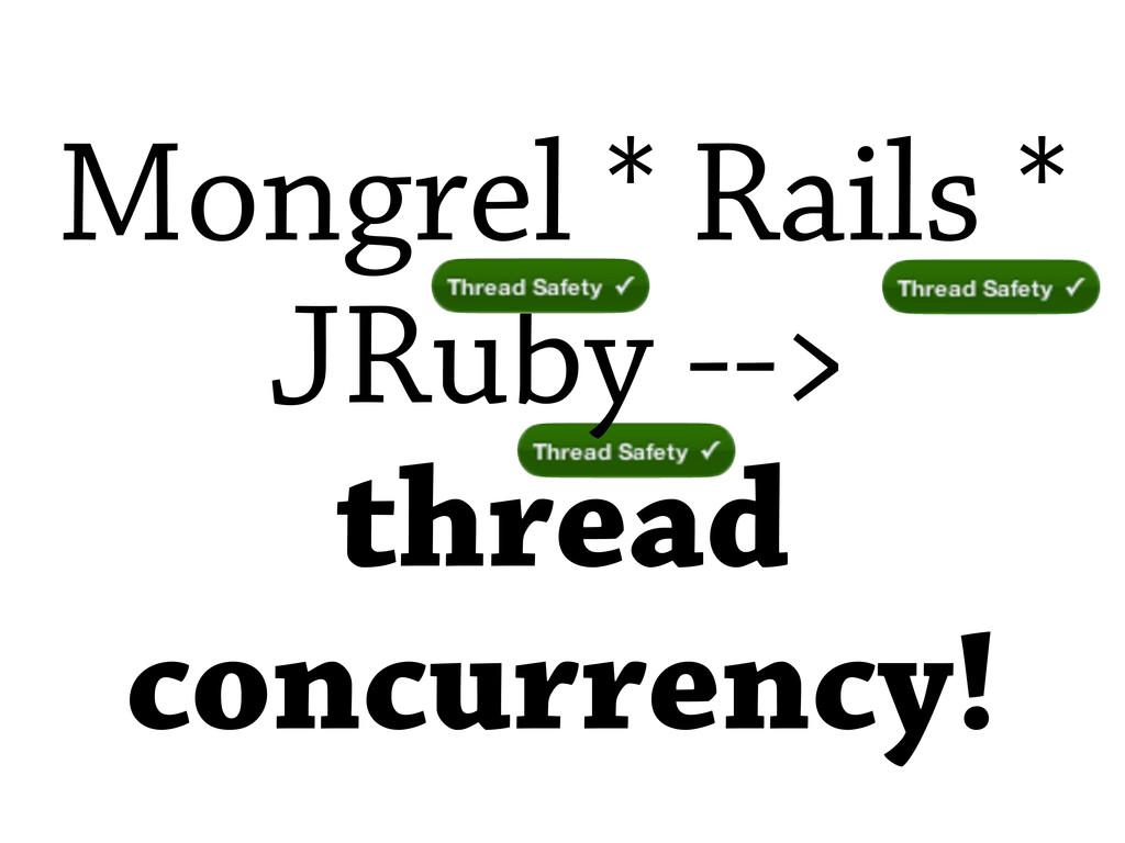 Mongrel * Rails * JRuby --> thread concurrency!