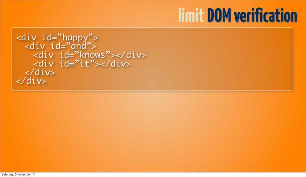 "limit DOM verification <div id=""happy""> <div id..."