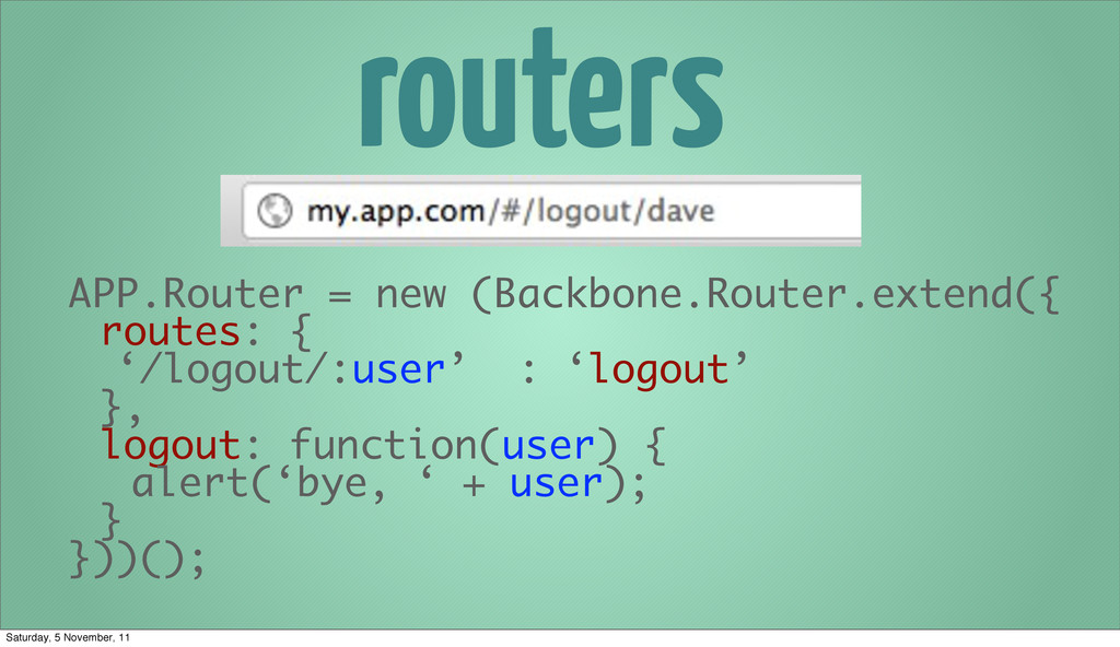 routers APP.Router = new (Backbone.Router.exten...
