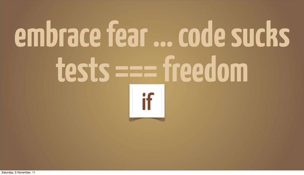 embrace fear ... code sucks tests === freedom i...