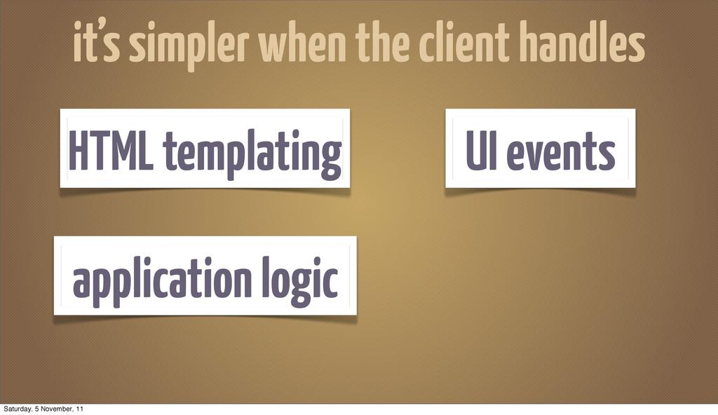 application logic HTML templating UI events it'...