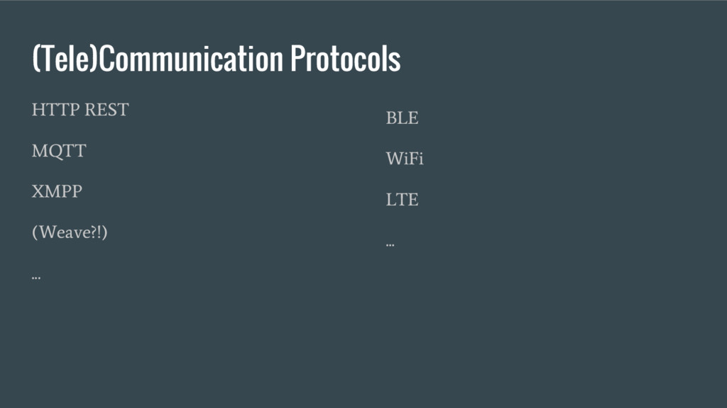 (Tele)Communication Protocols HTTP REST MQTT XM...