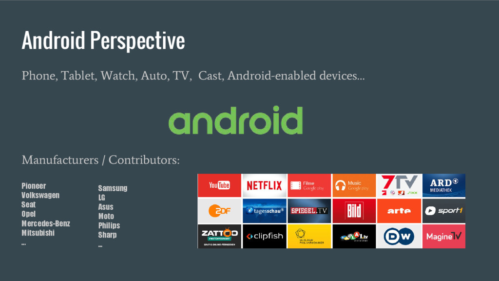 Android Perspective Phone, Tablet, Watch, Auto,...