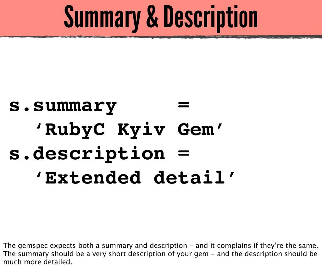 Summary & Description s.summary = 'RubyC Kyiv G...