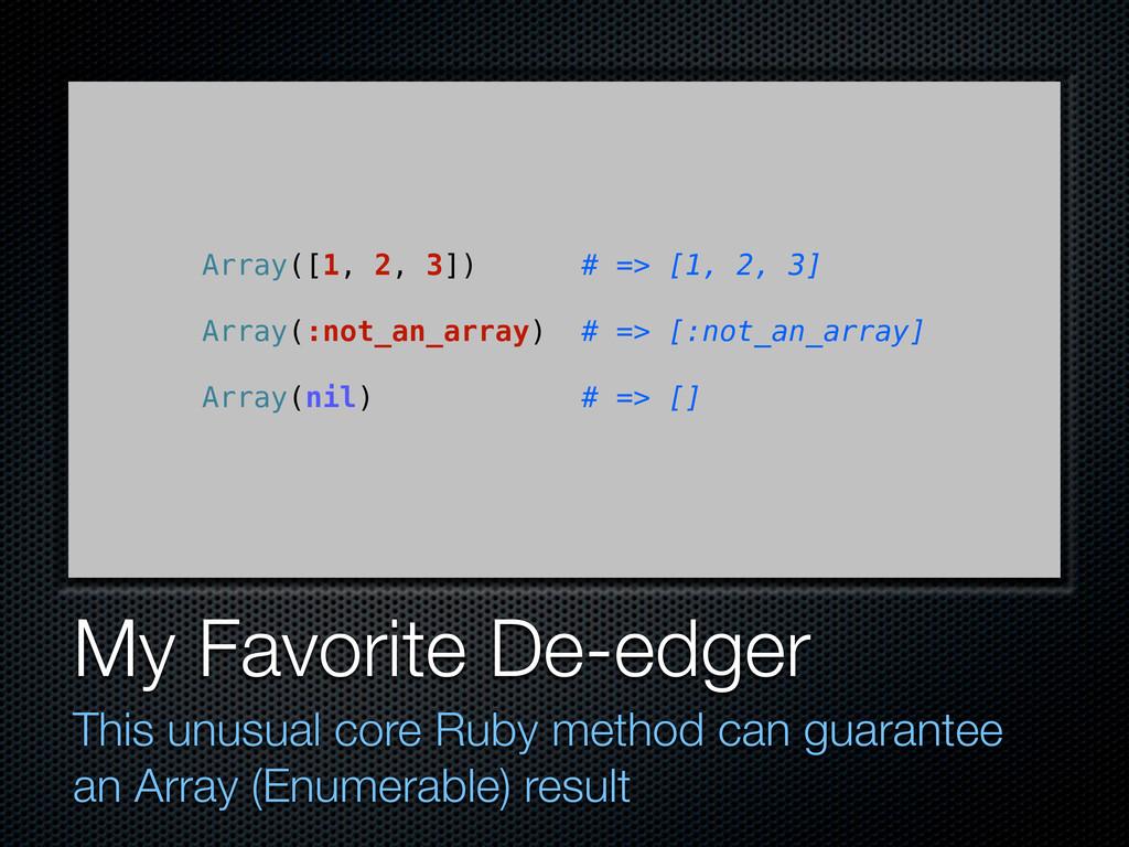 My Favorite De-edger This unusual core Ruby met...