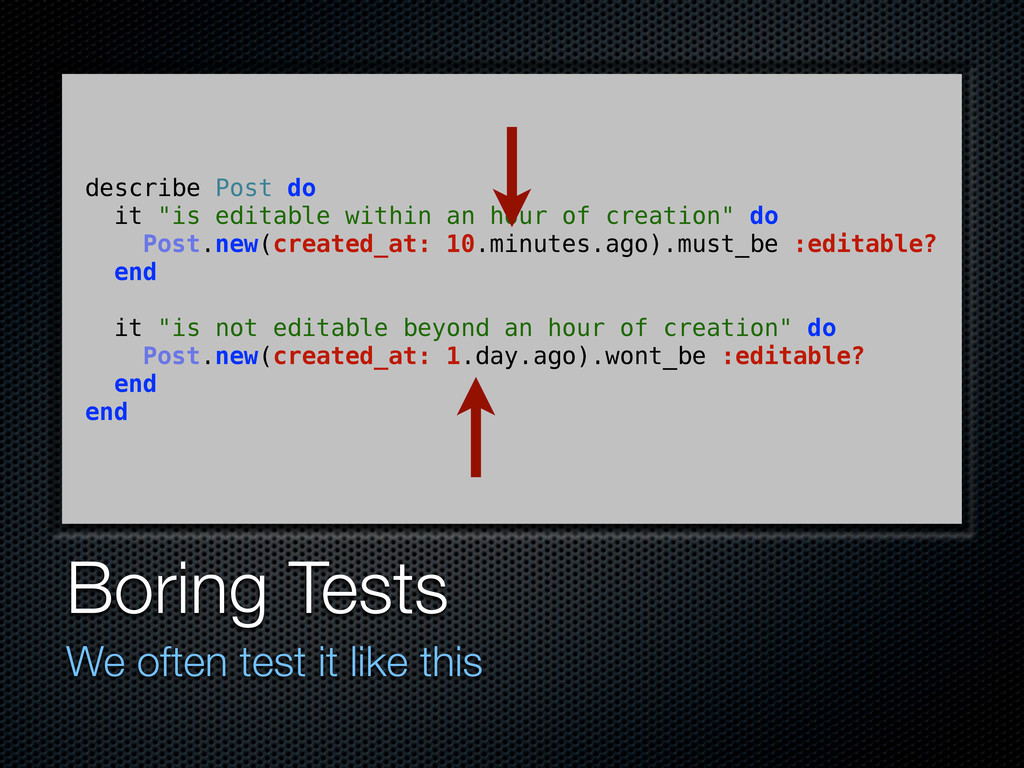 Boring Tests We often test it like this describ...