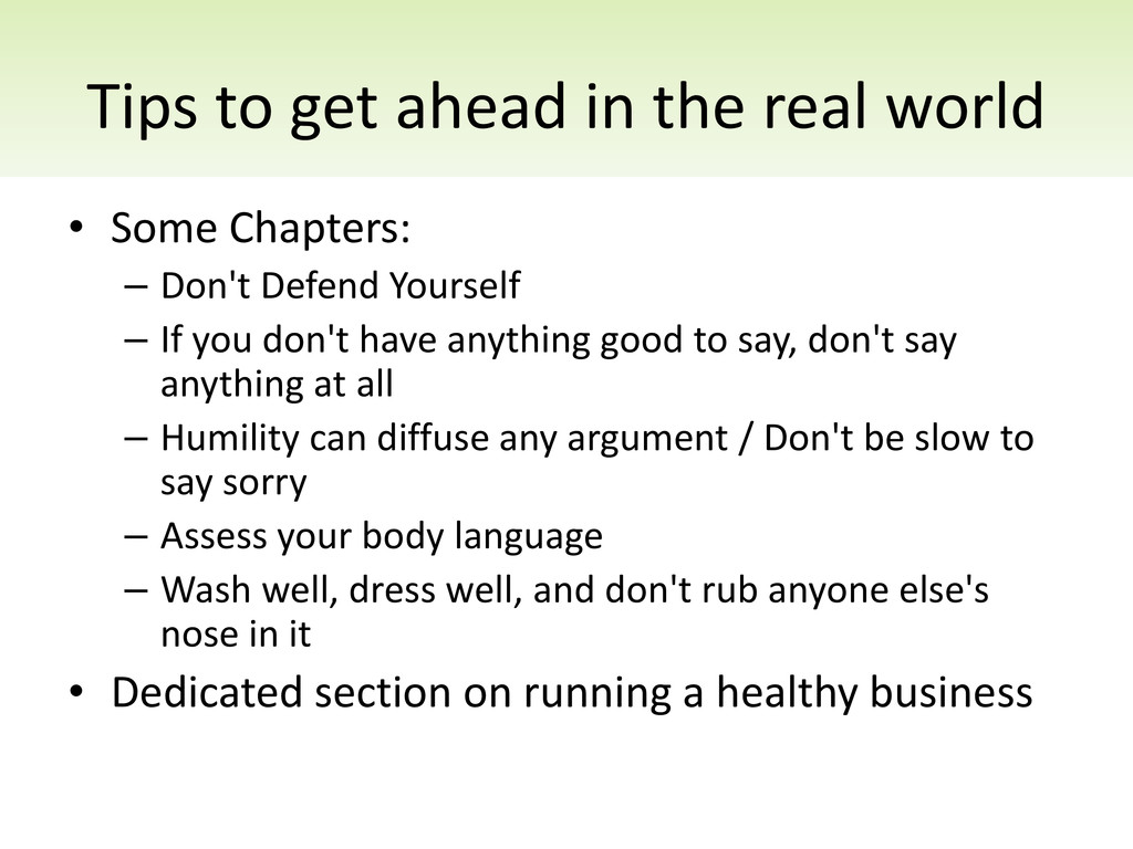 Tips to get ahead in the real world • Some Chap...