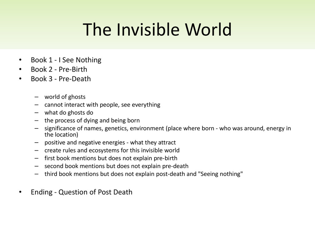 The Invisible World • Book 1 - I See Nothing • ...
