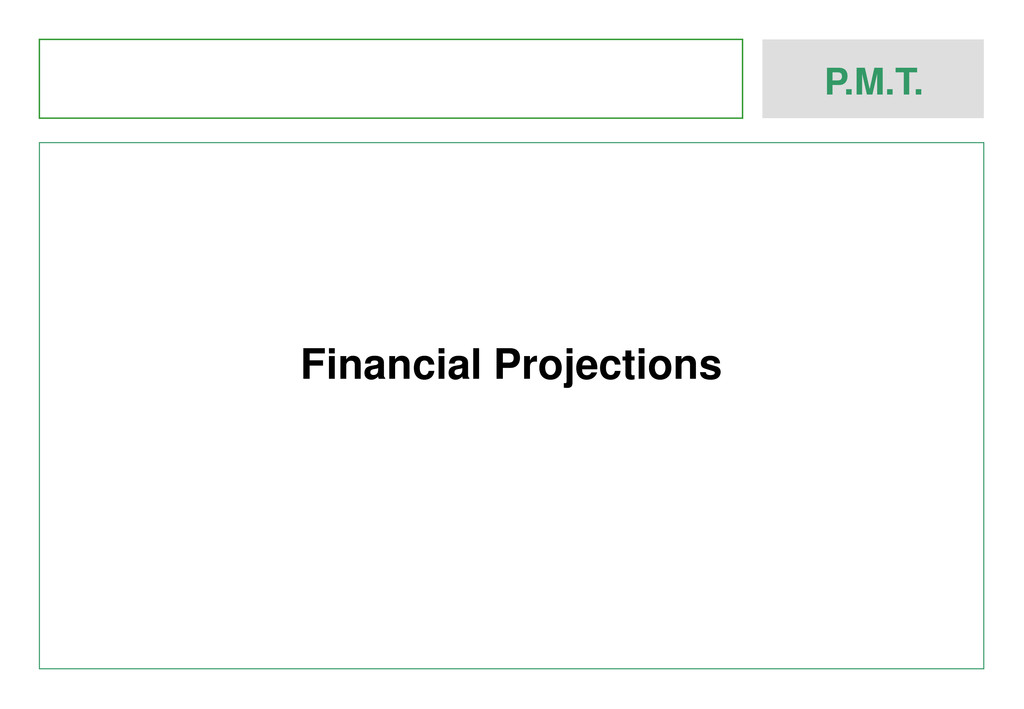 P.M.T. Financial Projections