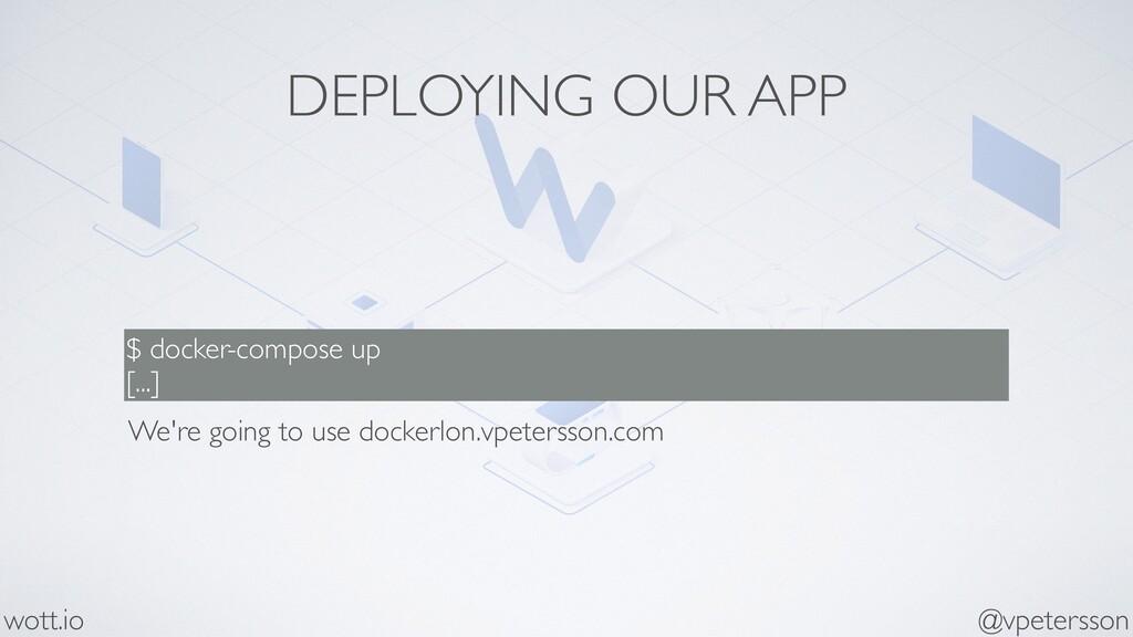 DEPLOYING OUR APP $ docker-compose up [...] @vp...