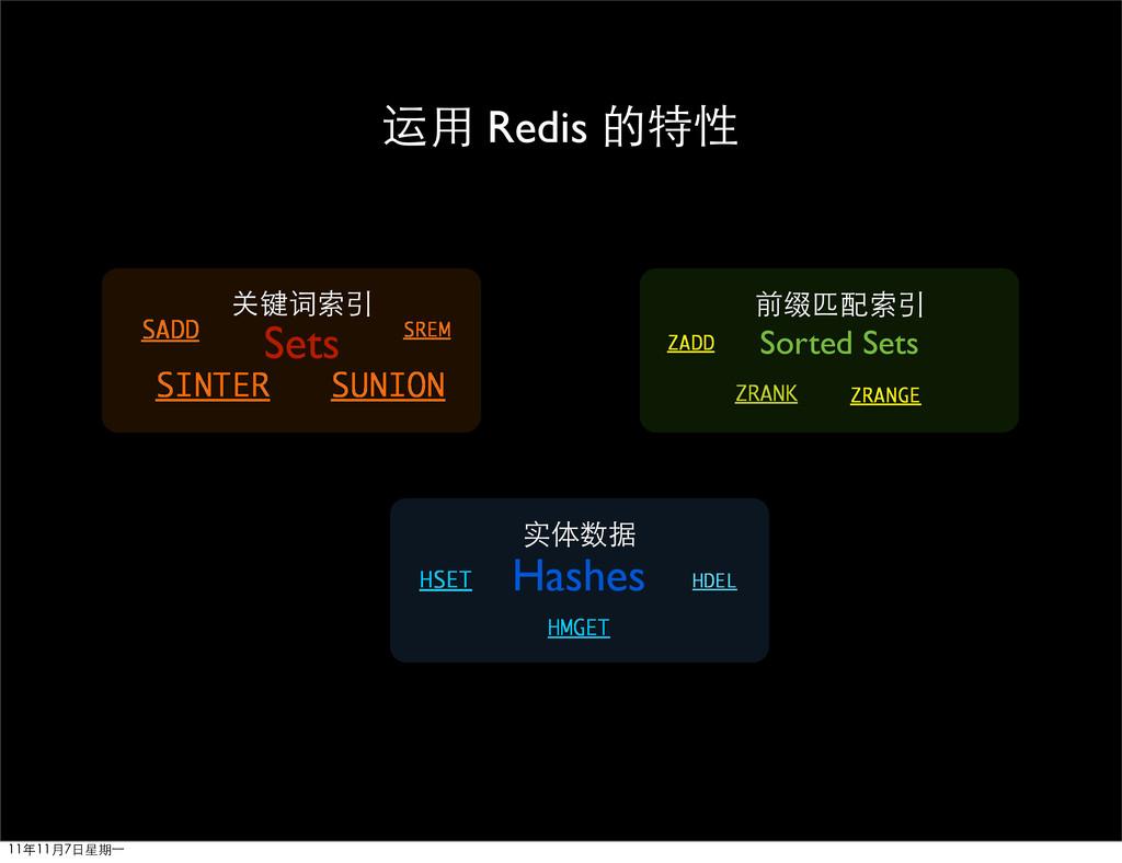SINTER SUNION 运用 Redis 的特性 Sets 关键词索引 实体数据 SADD...