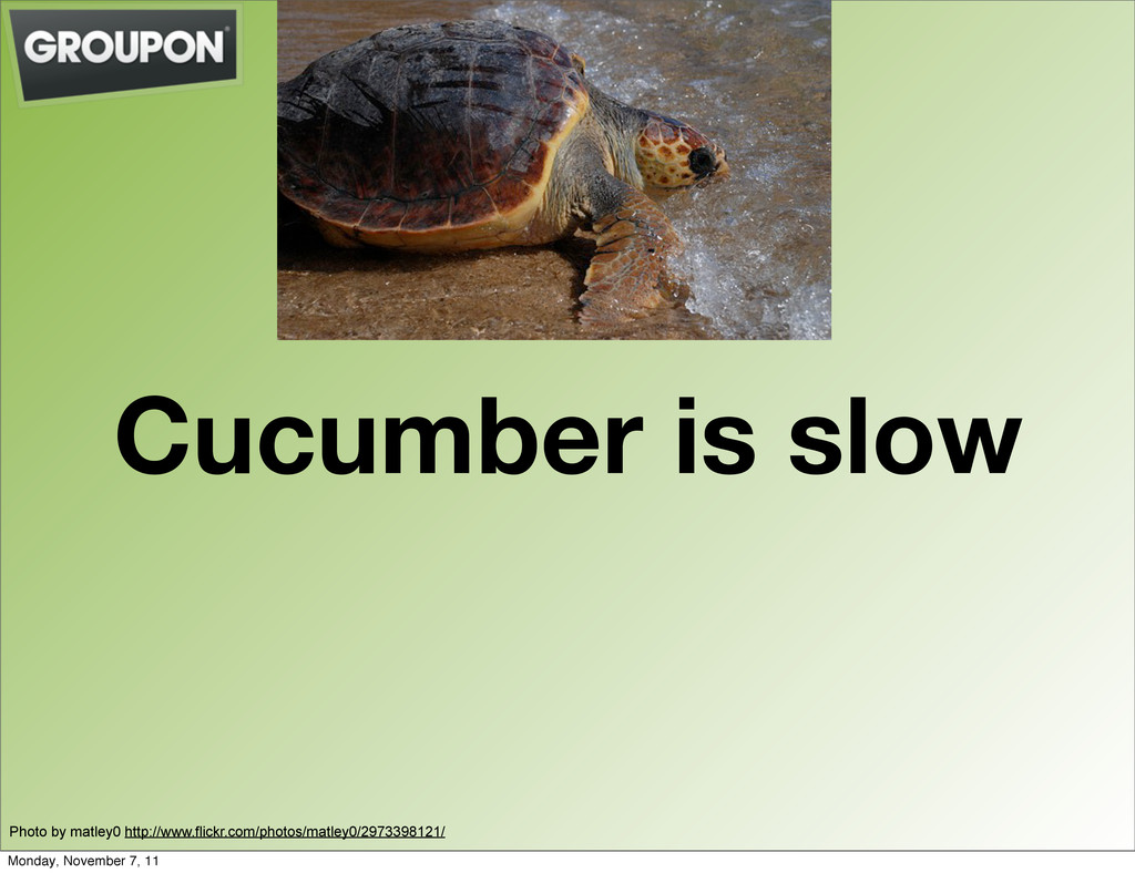 Cucumber is slow Photo by matley0 http://www.fl...