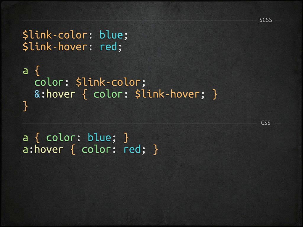 $link-color: blue; $link-hover: red; a { color:...