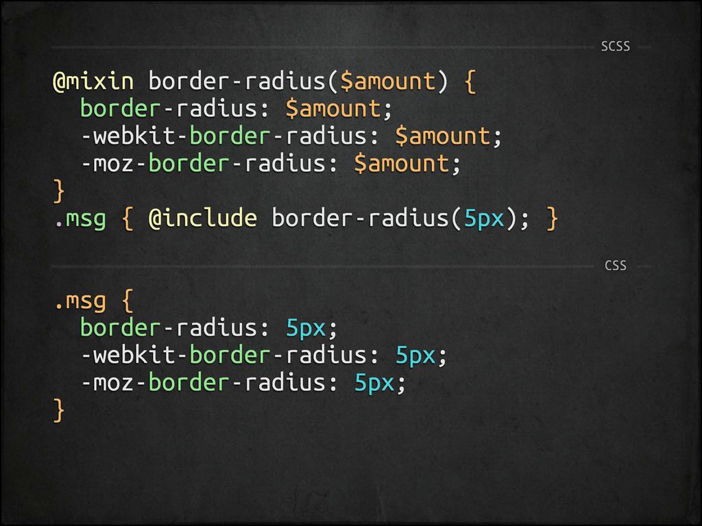 @mixin border-radius($amount) { border-radius: ...
