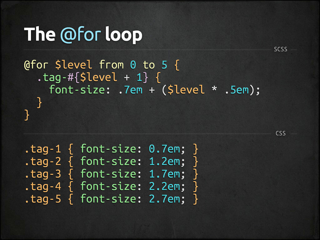 The @for loop SCSS @for $level from 0 to 5 { .t...
