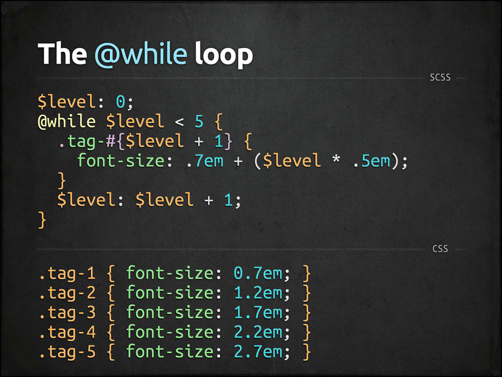 The @while loop SCSS $level: 0; @while $level <...