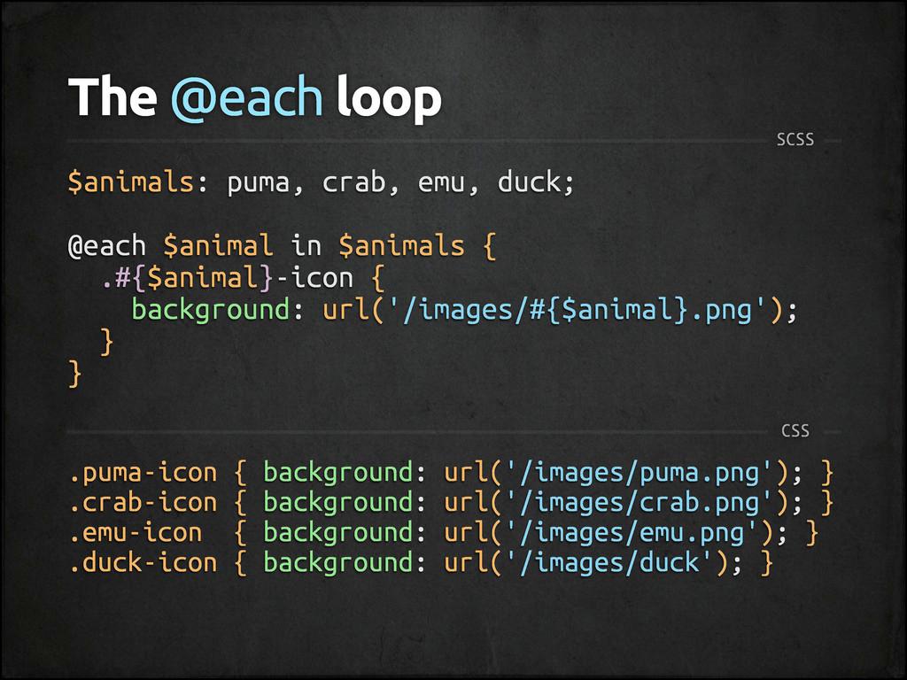 The @each loop SCSS $animals: puma, crab, emu, ...