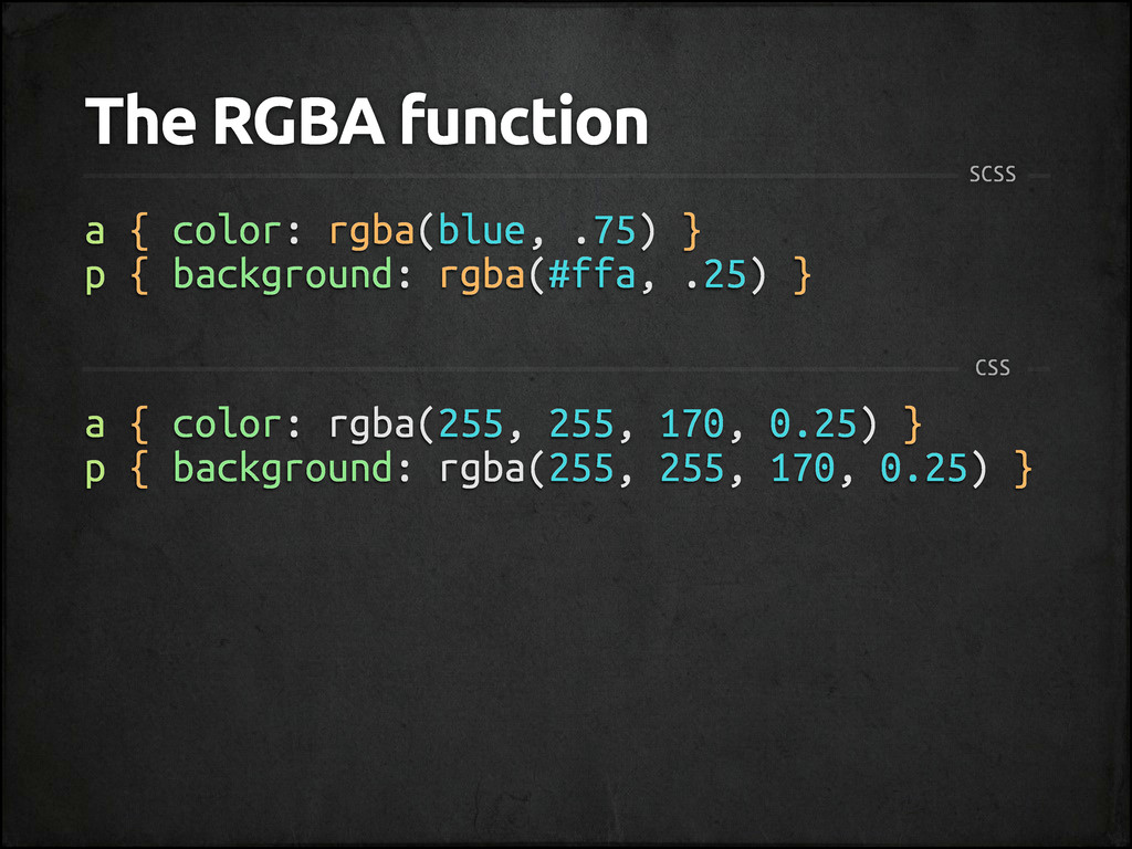 The RGBA function a { color: rgba(blue, .75) } ...