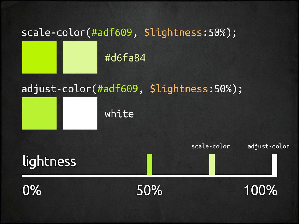 scale-color(#adf609, $lightness:50%); adjust-co...