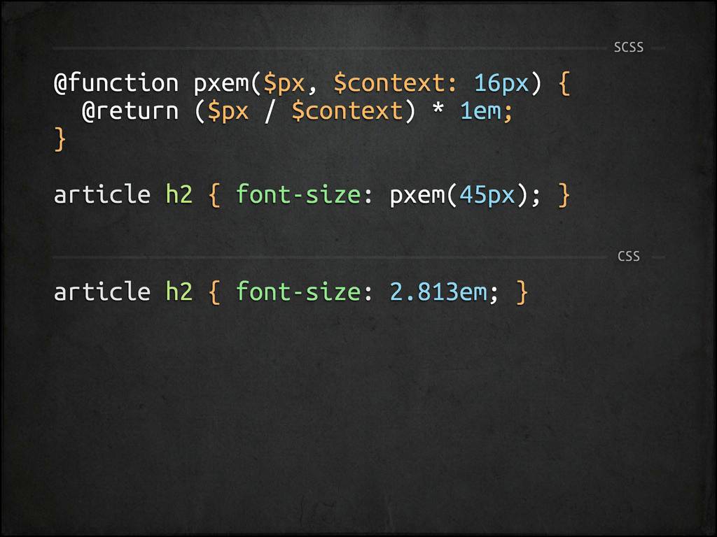 @function pxem($px, $context: 16px) { @return (...
